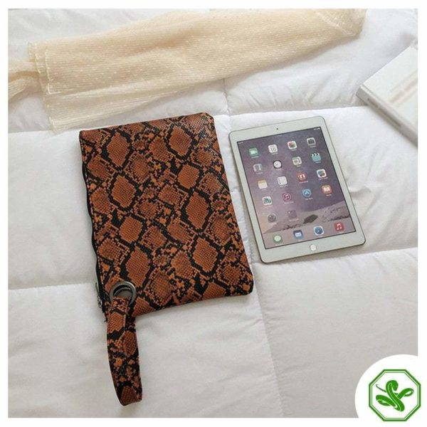 brown snake print cluth bag for woman