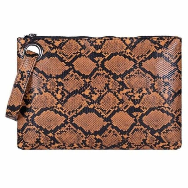 Brown Snake Print Clutch Bag