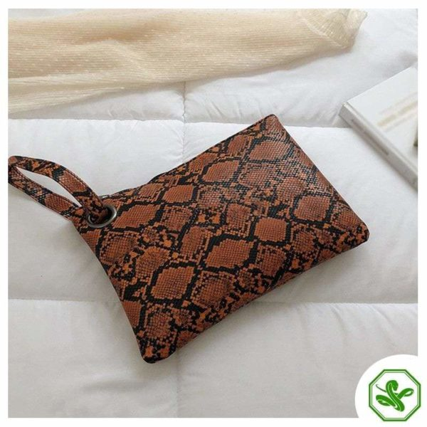 women's brown snake print clutch bag
