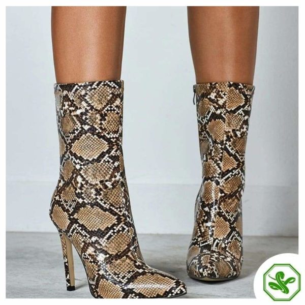 brown snakeskin ankle boots outfit