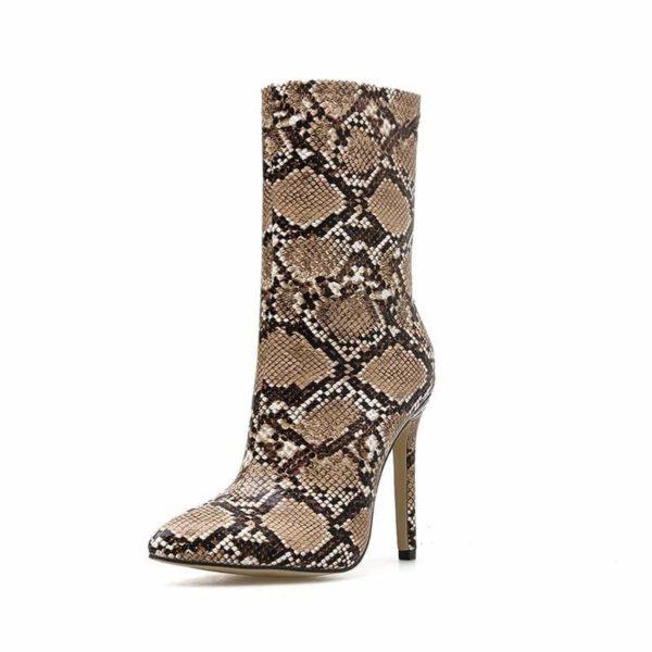 brown snakeksin boots