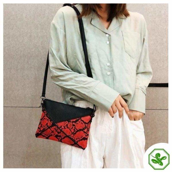 snakeskin clutch bag red