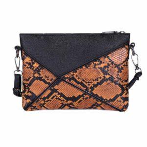 Brown Snakeskin Clutch Bag