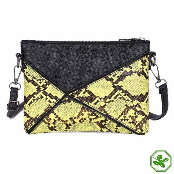 yellow snakeskin clutch bag