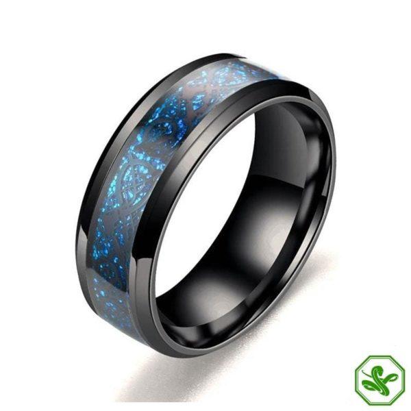 bleu and silver black snake ring