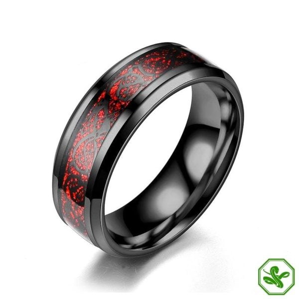 red and silver black celtic snake ring