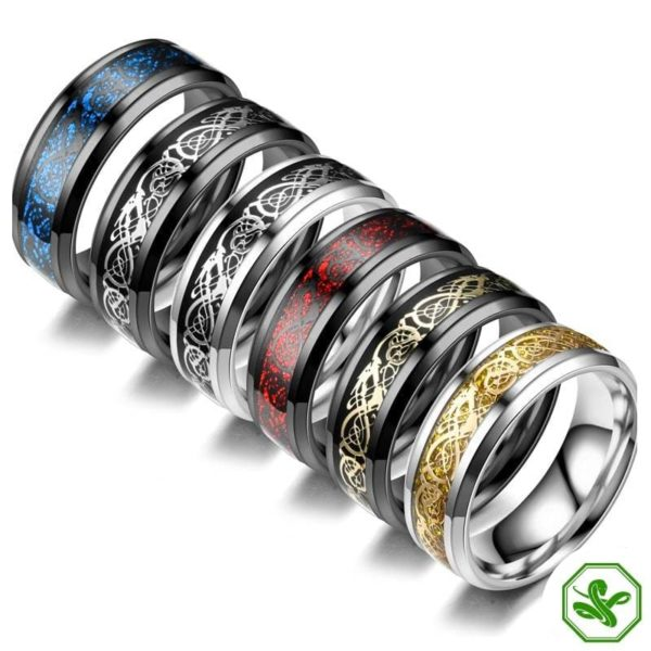 colored celtic snake rings