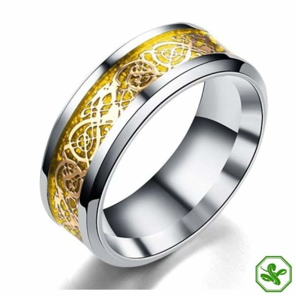 gold and silver celtic snake ring