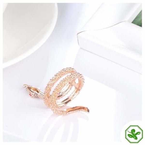 crystal steel snake ring
