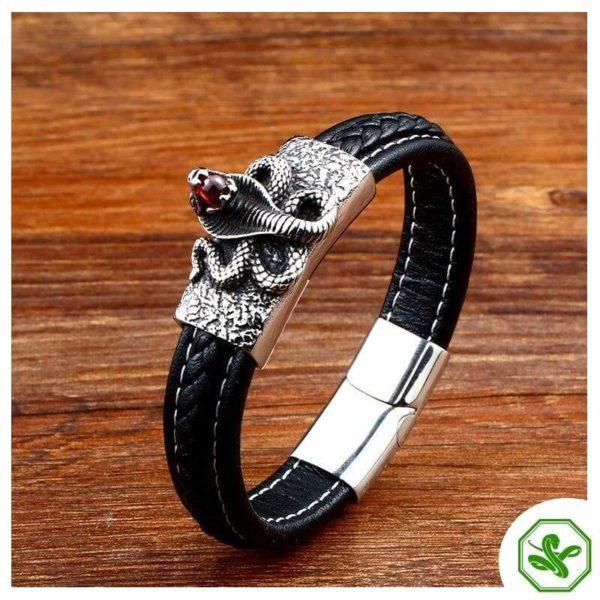 leather snake bracelet mens
