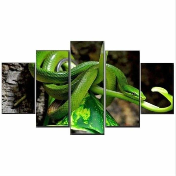 Green Coiled Snake Painting