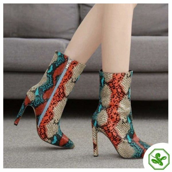 multi colored snakeskin boots