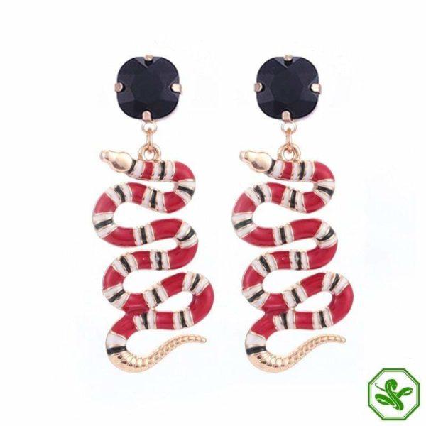coral snake earrings black diamond