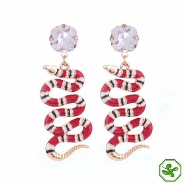 coral snake earrings white diamond