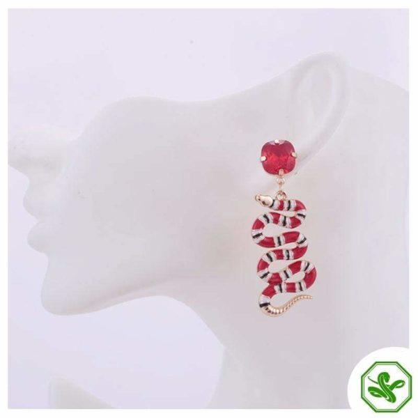 coral snake earring for women