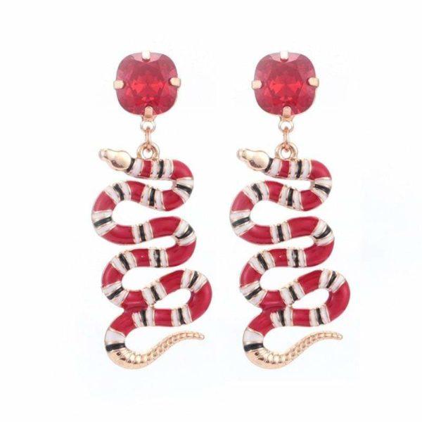 coral snake earrings red diamond