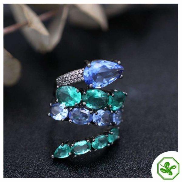 blue and aqua snake ring
