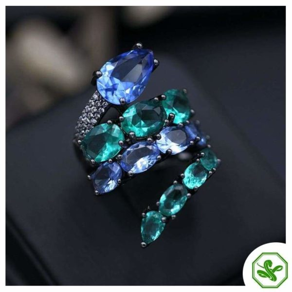 colored blue snake ring