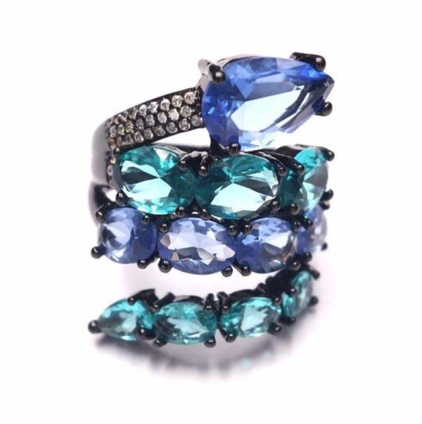 bleu reptile snake ring