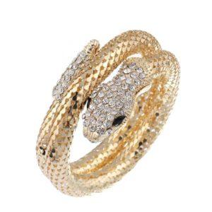 gold snake bracelet with diamond head