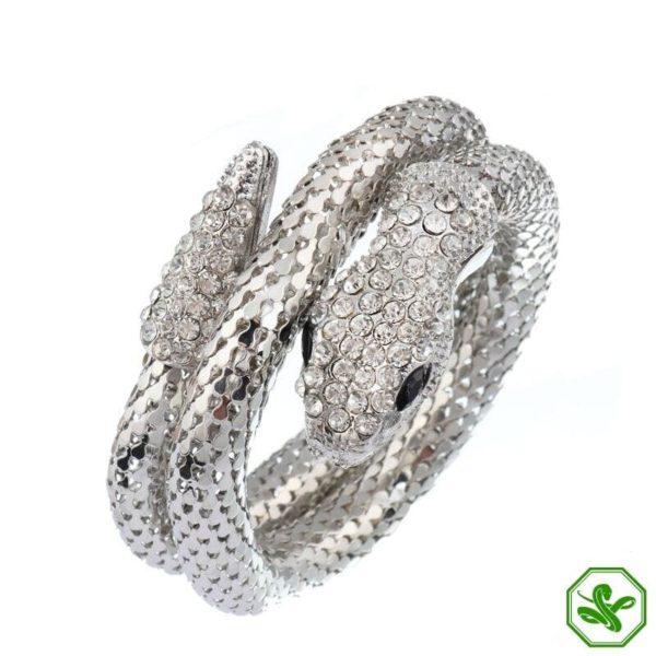 silver snake bracelet with diamonds