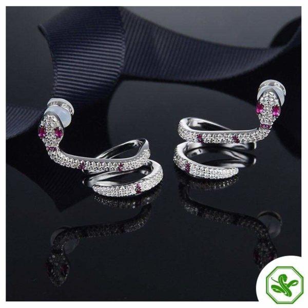 Diamond Snake Earrings 2