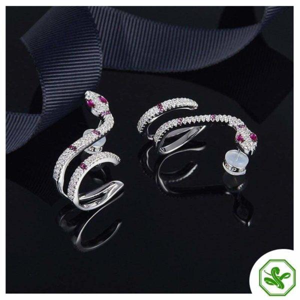 Diamond Snake Earrings 3