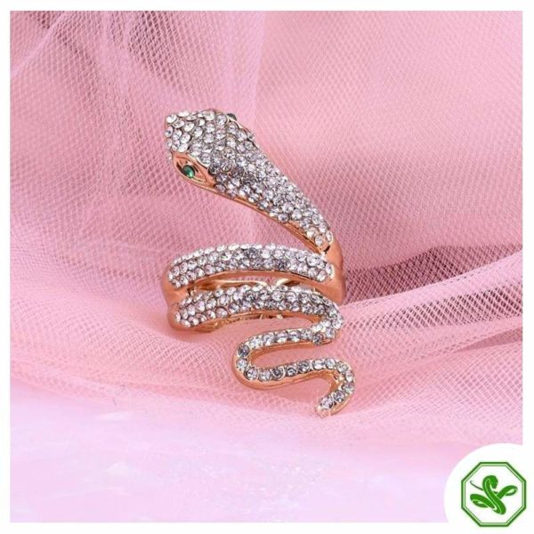 snake ring with emerald eyes
