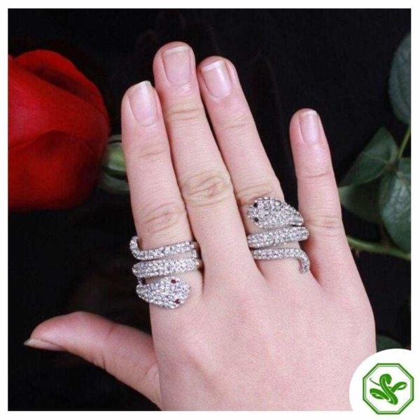 Diamond Snake Ring Ruby Eyes 4