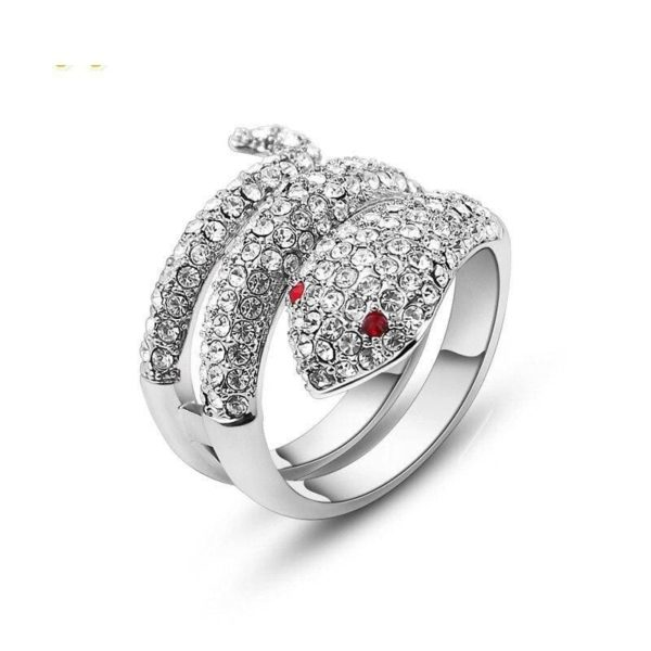 Diamond Snake Ring Ruby Eyes 1
