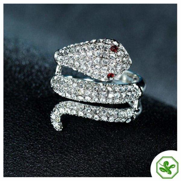 Diamond Snake Ring Ruby Eyes 2