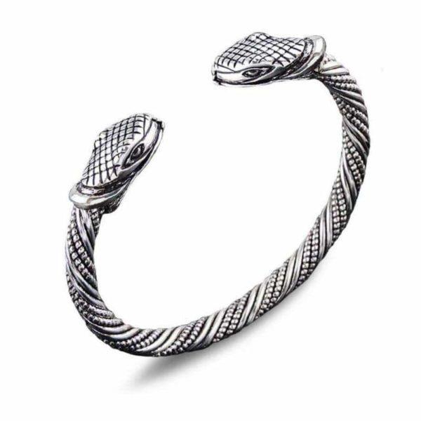 two heads silver snake bracelet