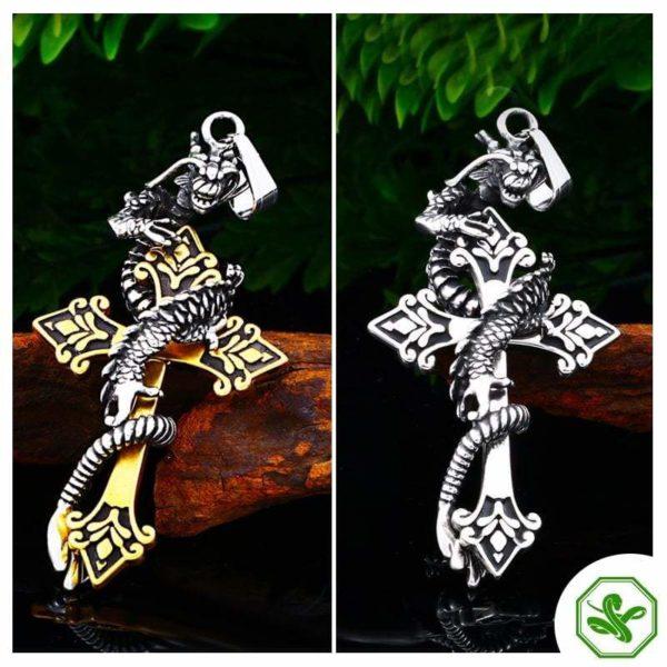 Snake Pendant Dragon Cross 4