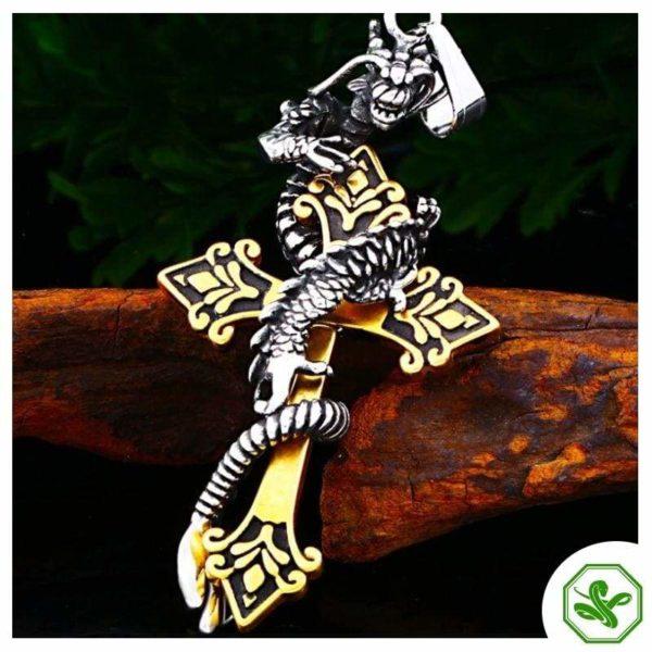 Snake Pendant Dragon Cross 3