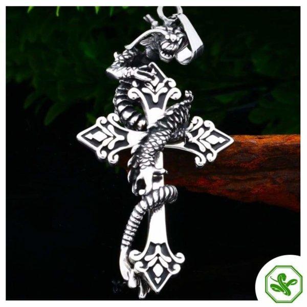 Snake Pendant Dragon Cross 6