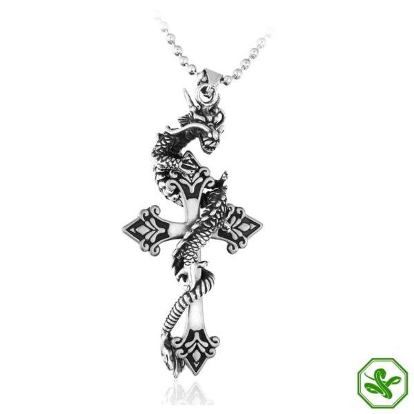 Snake Pendant Dragon Cross 10