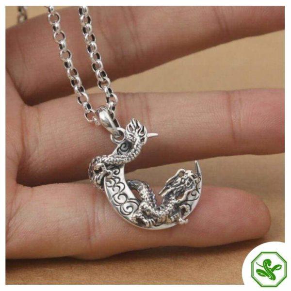 dragon moon snake pendant