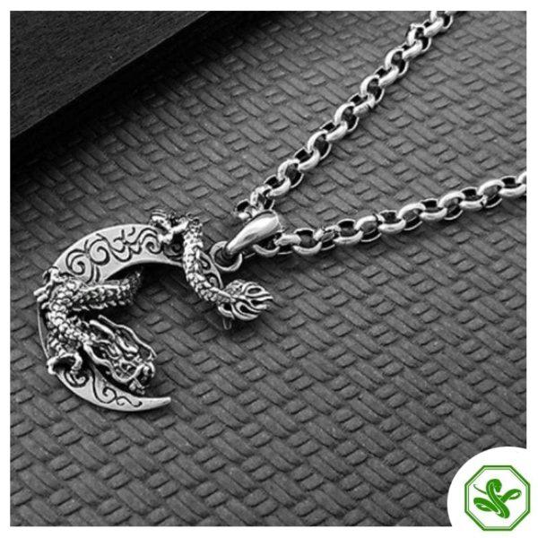 silver snake pendant dragon