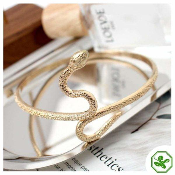 egyptian snake bracelet in gold steel