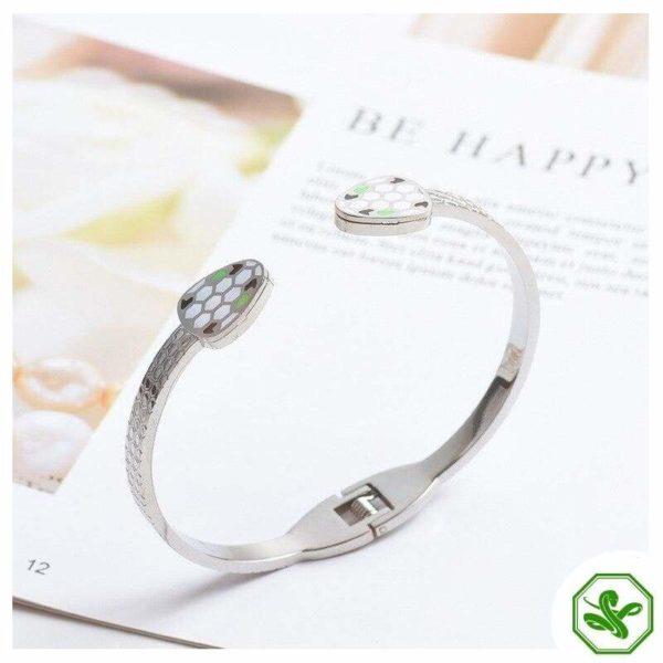 stainless steel snake bracelet silver