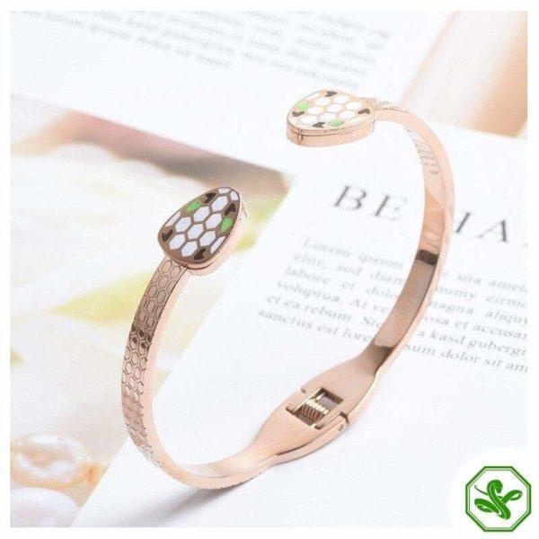 pink gold snake bracelet