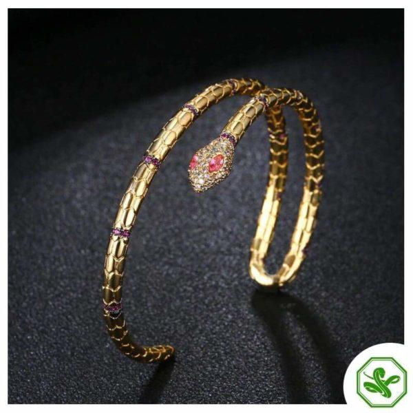 red and gold snake bracelet