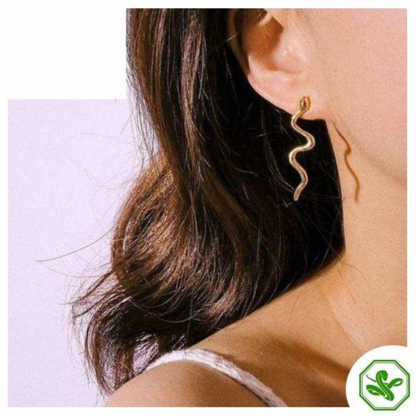 snake stud earrings gold