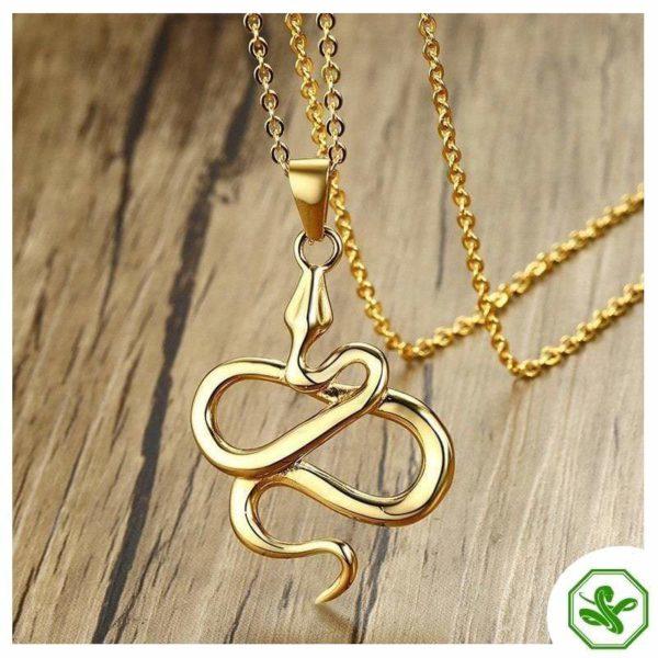 gold flat snake pendant