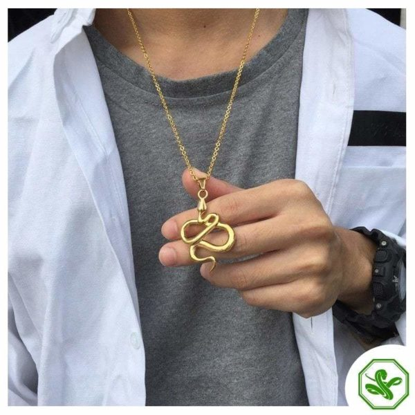 gold snake necklace steel