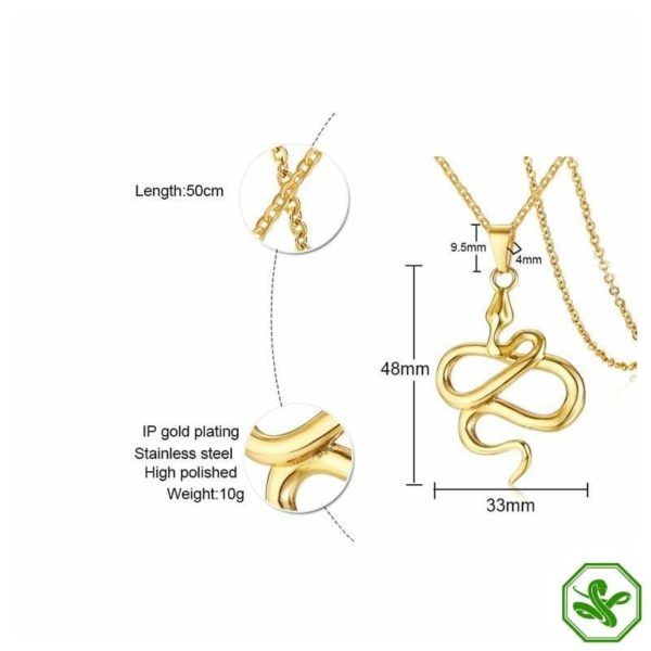 features gold snake necklace