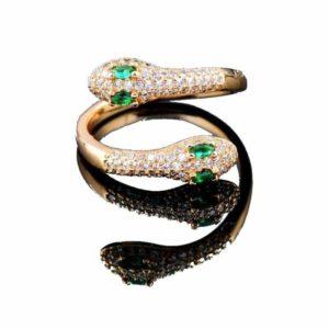 Gold Snake Ring Green Eyes