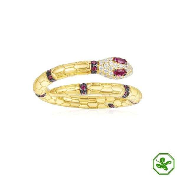 gold snake ring with red eyes