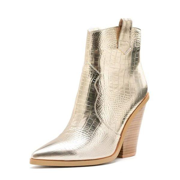shiny gold snake boots