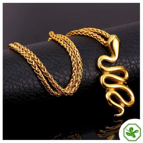 glided finish snake necklace